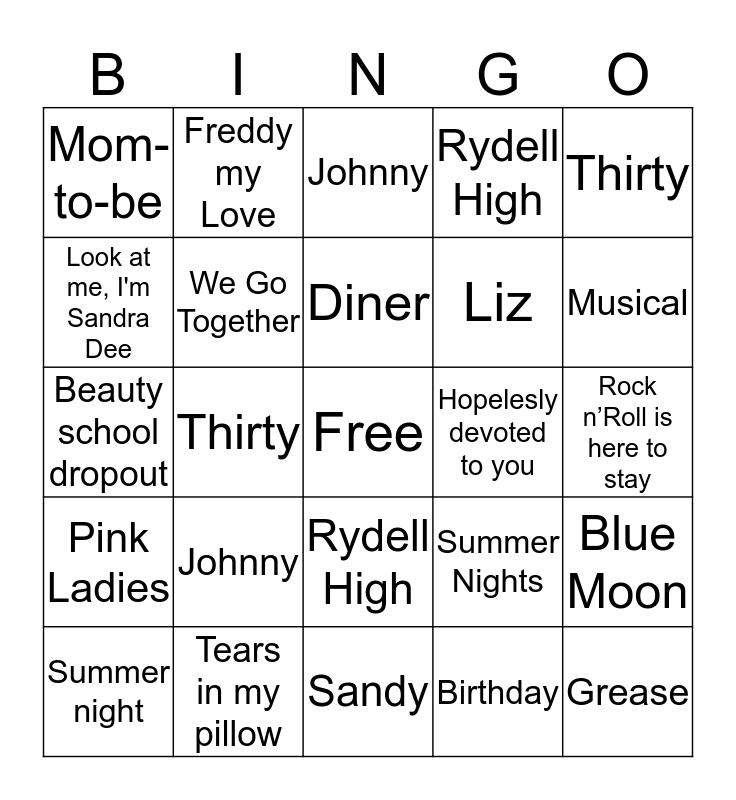 Liz's Grease Lightening 30! Bingo Card