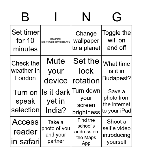 Ipad Exploration Bingo Card