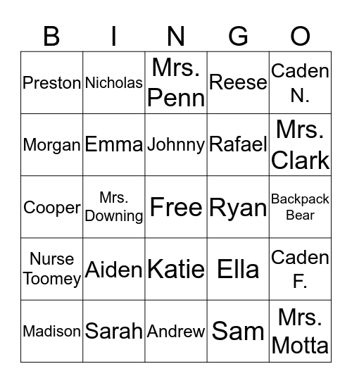 Names Bingo Card