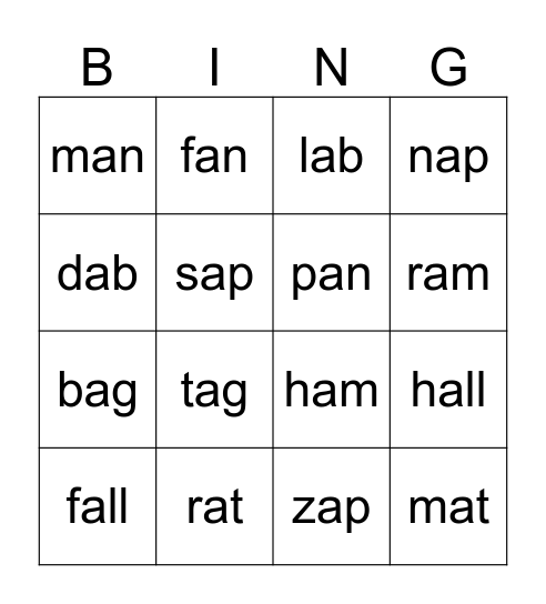 "Short ""a"" word families Bingo Card"