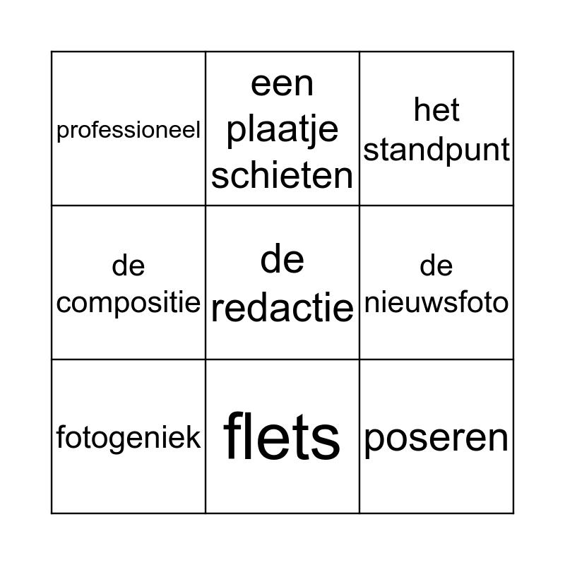 les 1 thema Flits Bingo Card