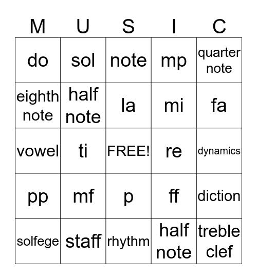 MUSIC Bingo! Bingo Card