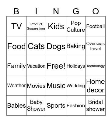 Registry Bingo  Bingo Card