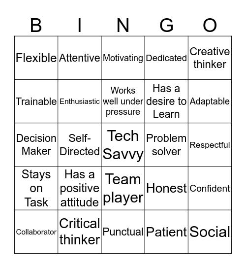 Work Maturity Skills Bingo Card