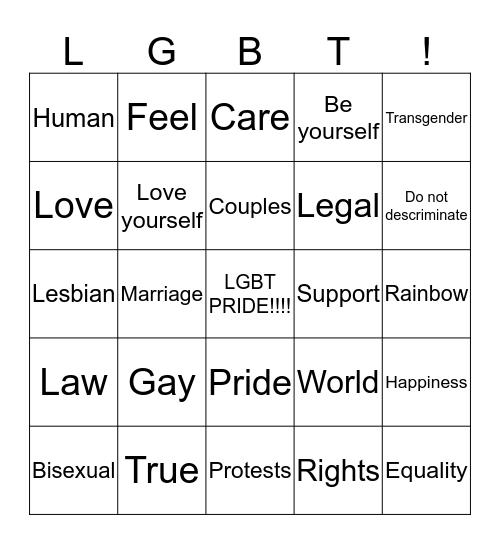 LGBT  Bingo Card