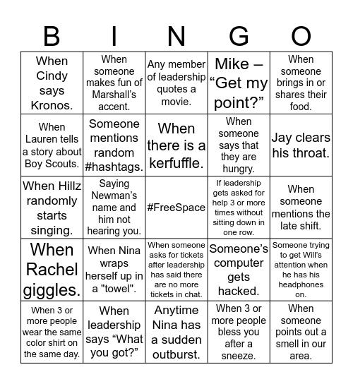 CCED Bingo Card