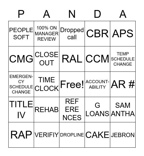 Panda Bingo Card