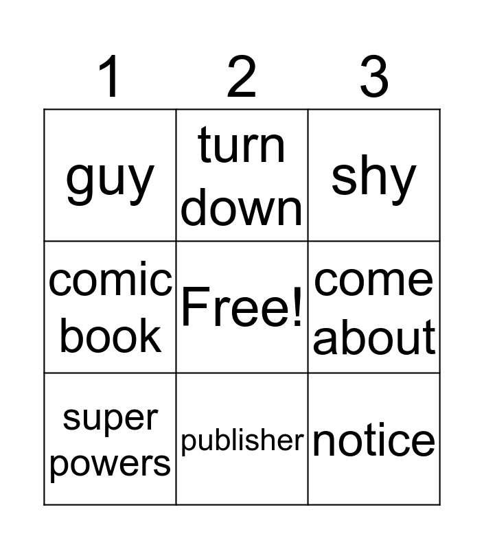Superheroes  Bingo Card
