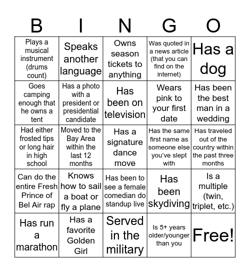 Dating App Bingo Card