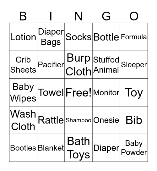 Baby Bahen Bingo Card