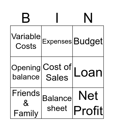 GCSE Business Finance Bingo Card