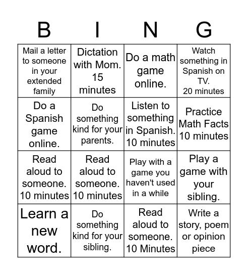 Weekly Bingo Card