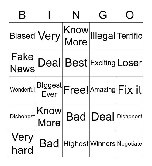 Trump Bingo Card