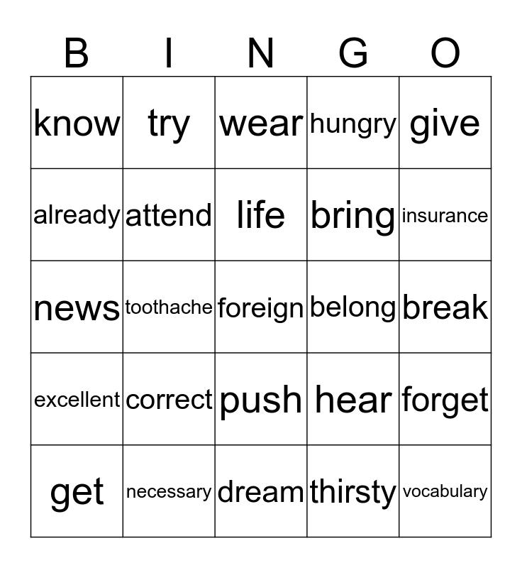 Revision Bingo Card