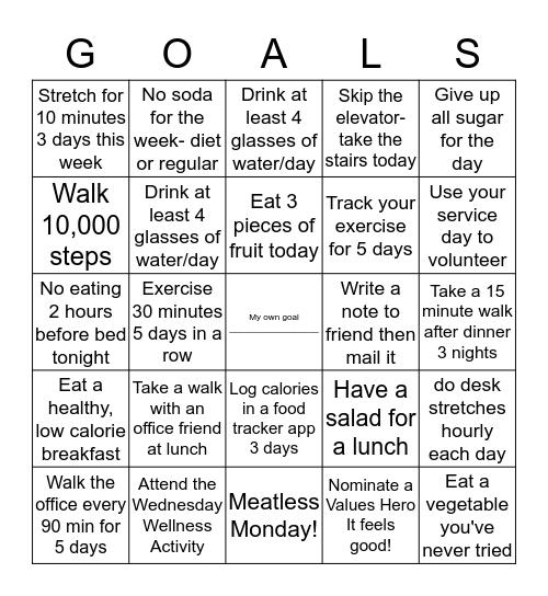 BAF Wellness Bingo Card