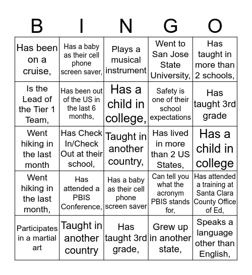 PBIS All-Star Bingo Card