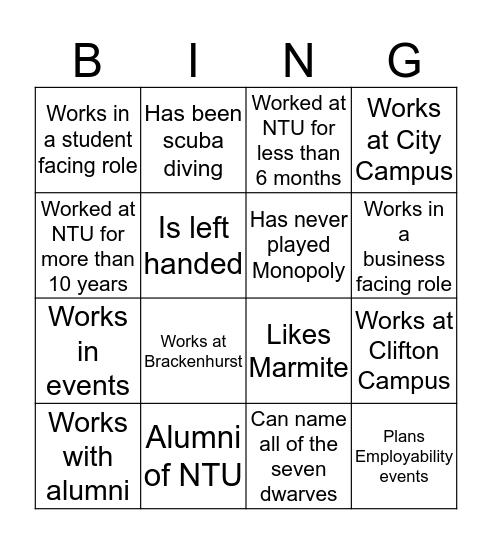 EEE Away Day Bingo Card