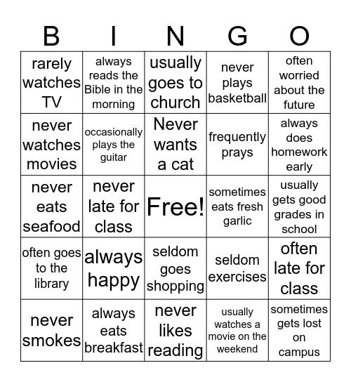 Frequency Adverb Bingo Card