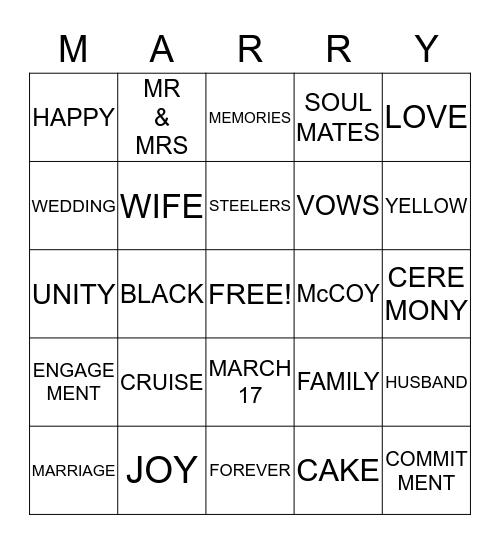 MARRY ME BINGO Card