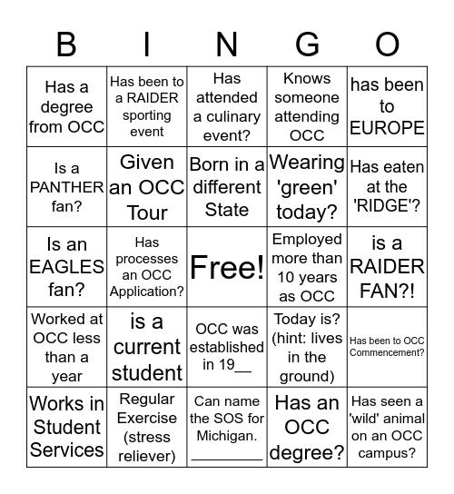 OCC SPEED BINGO! Bingo Card