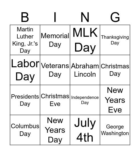 National Holidays Bingo Card