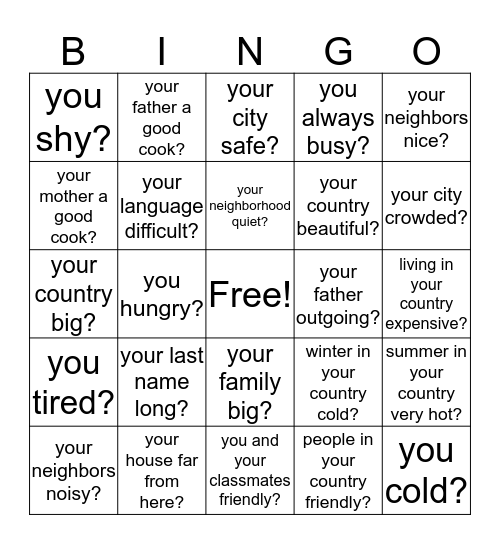 Is/Are Questions Bingo Card
