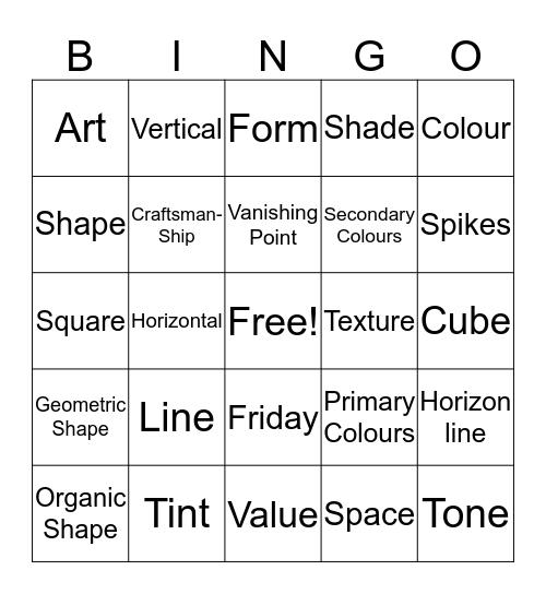 B-I-N-G-O Card Art Bingo Card