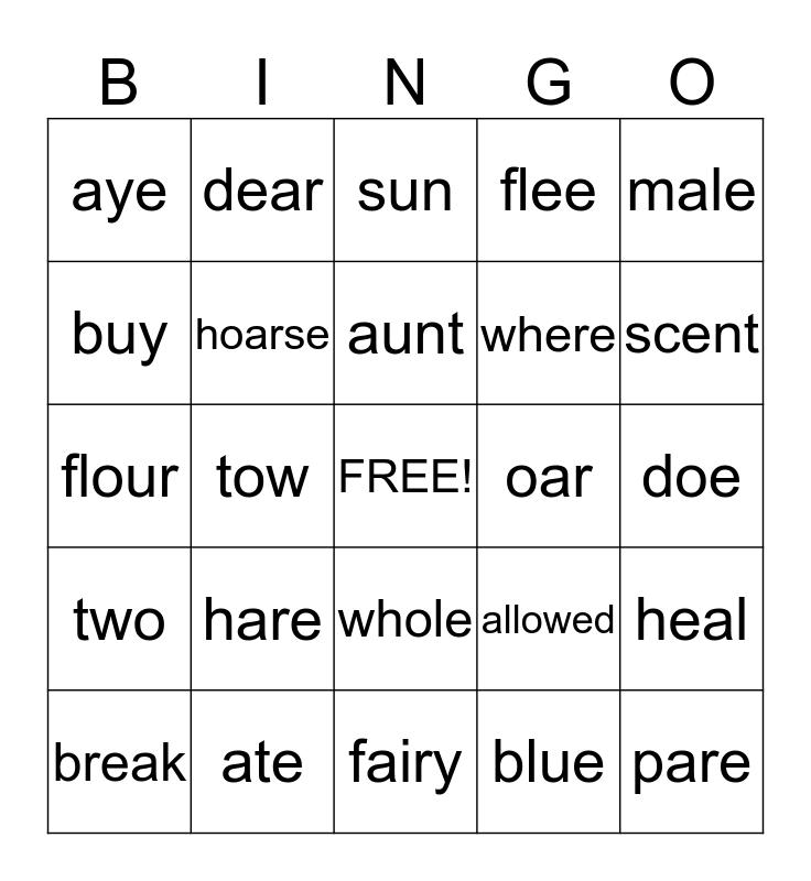 HOMOPHONES Bingo Card