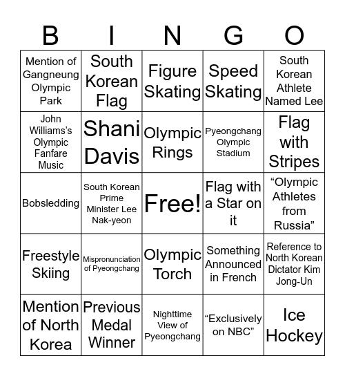 Pyeongchang 2018 Olympic Opening Ceremony Bingo Card