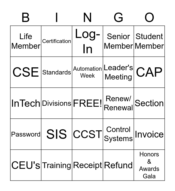 ISA Customer Service Week Bingo Card