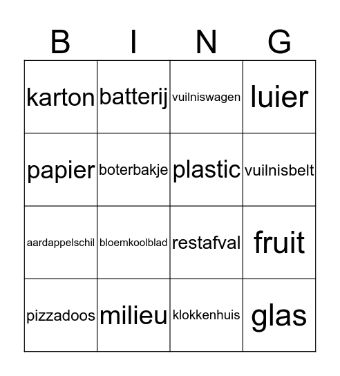 Afval  Bingo Card