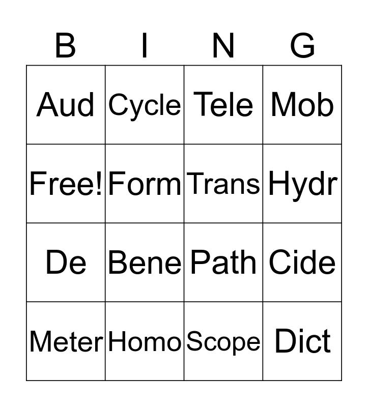 Root bingo Card