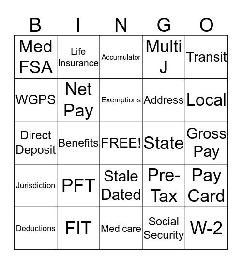 National Payroll Week !!!!! Bingo Card