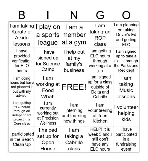 ELO Bingo Card