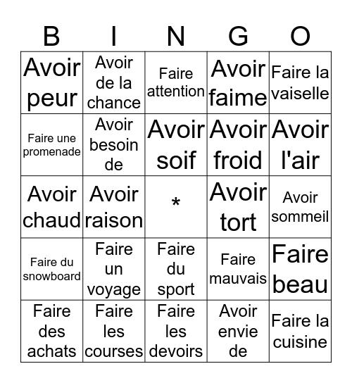 Avoir et Faire Bingo Card