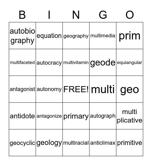 Latin and Greek Root  Words Bingo Card