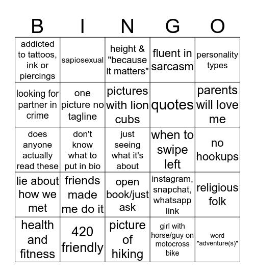 Tinder Bingo Card