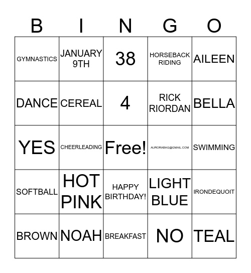 EVERYTHING AURORA!! Bingo Card