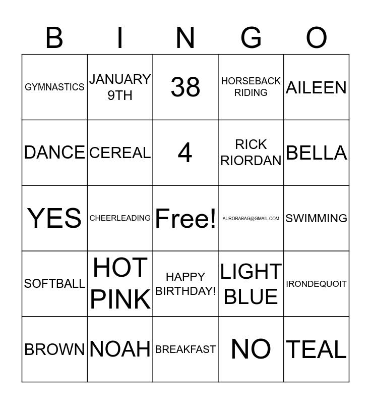 EVERYTHING AURORA!! Bingo Card