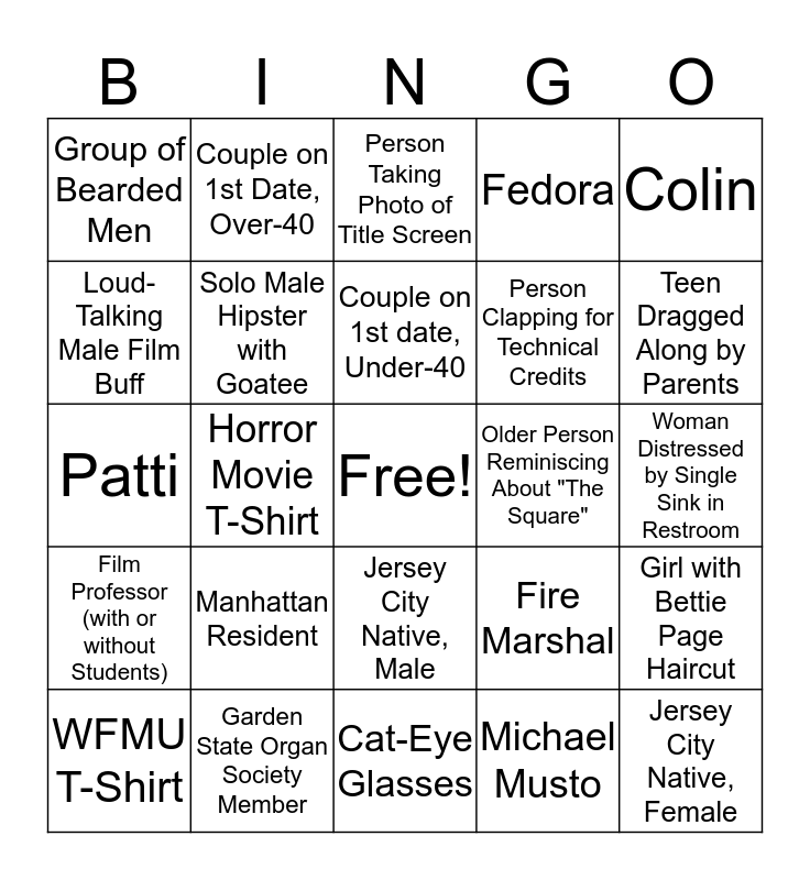 Movie Night at the Landmark Loew's, Jersey City Bingo Card