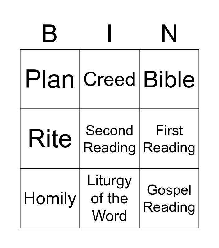 Parts of Mass BINGO Card