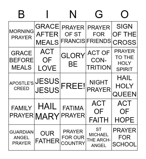 CATHOLIC BINGO Card