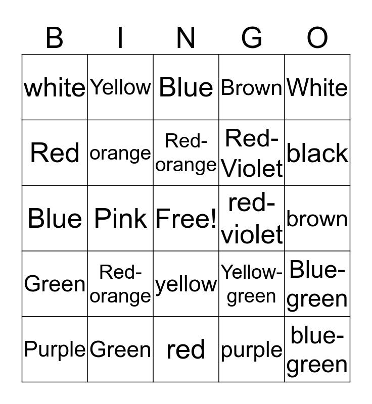 Crayon Bingo Card