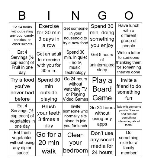 Health & Fitness 5 Total Health Bingo Card