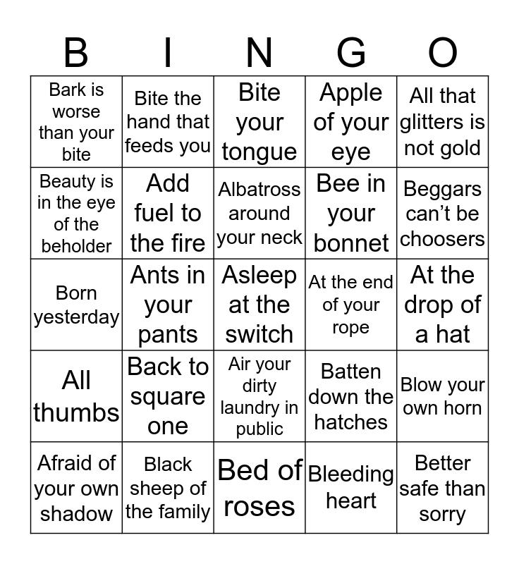 Idiom Bingo Card