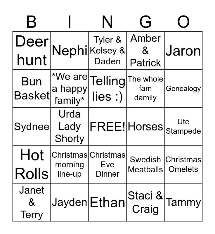Howell Family Bingo Card
