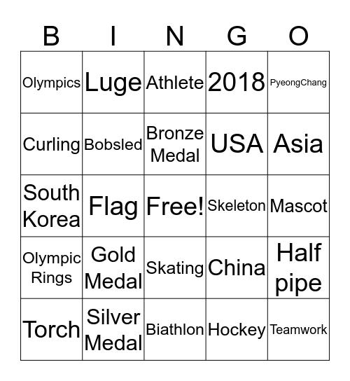 2018 Winter Olympics Bingo Card