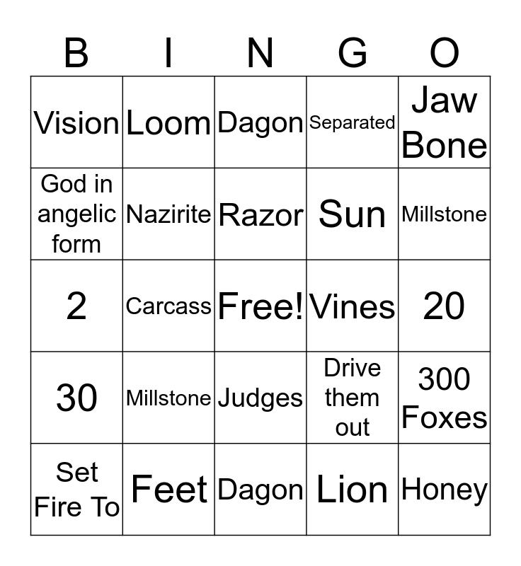 Samson and Delilah Bingo Card