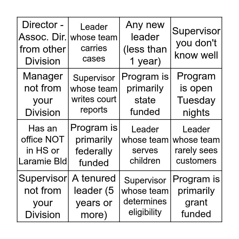 JCDHS Leader Bingo Card