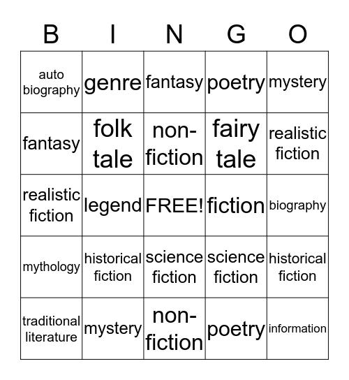 Genre Bingo! Bingo Card
